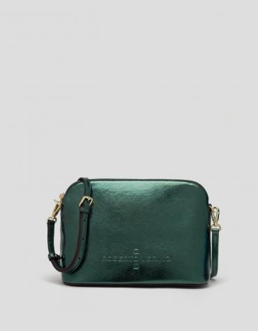 Green shiny leather shoulder bag