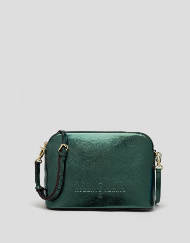 Green shiny leather shoulder bag