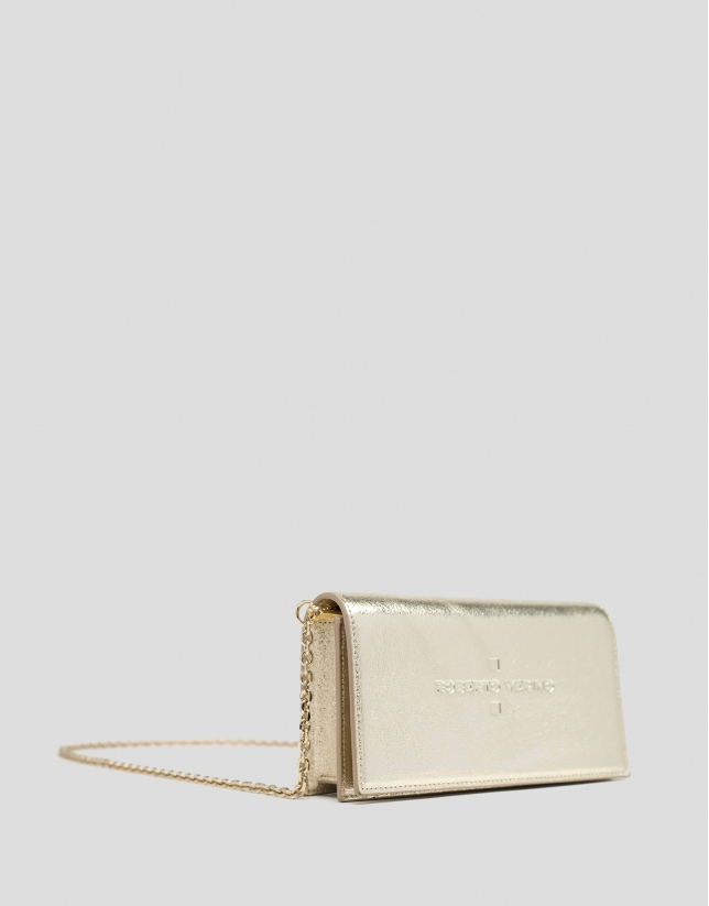 Shiny gold leather Glace mini shoulder bag