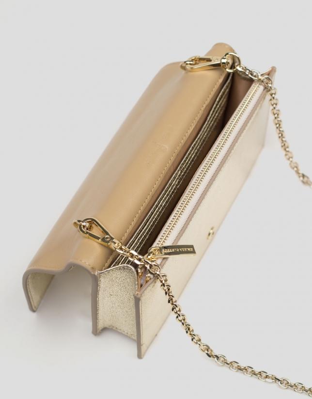 Mini bandolera Glace piel brillante oro