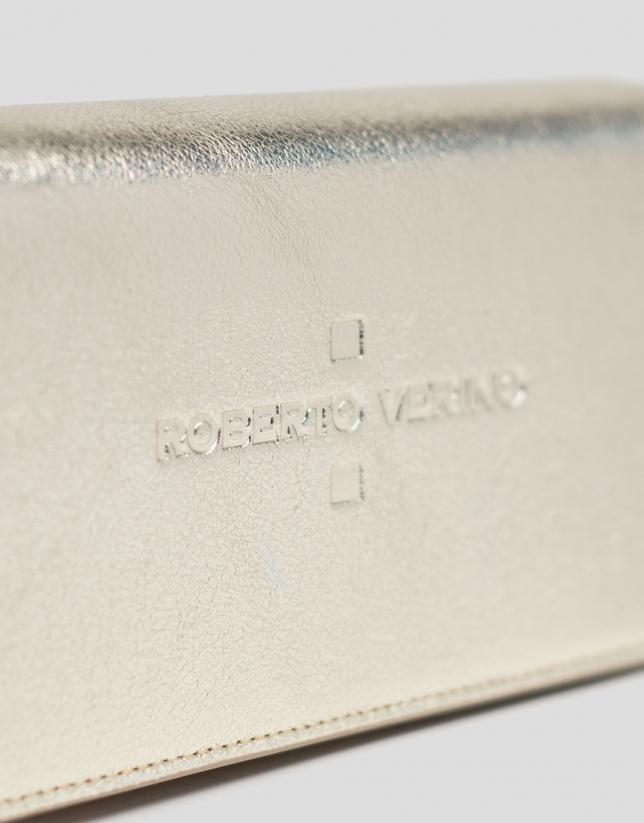 Mini sac à bandoulière Glace en cuir brillant couleur or