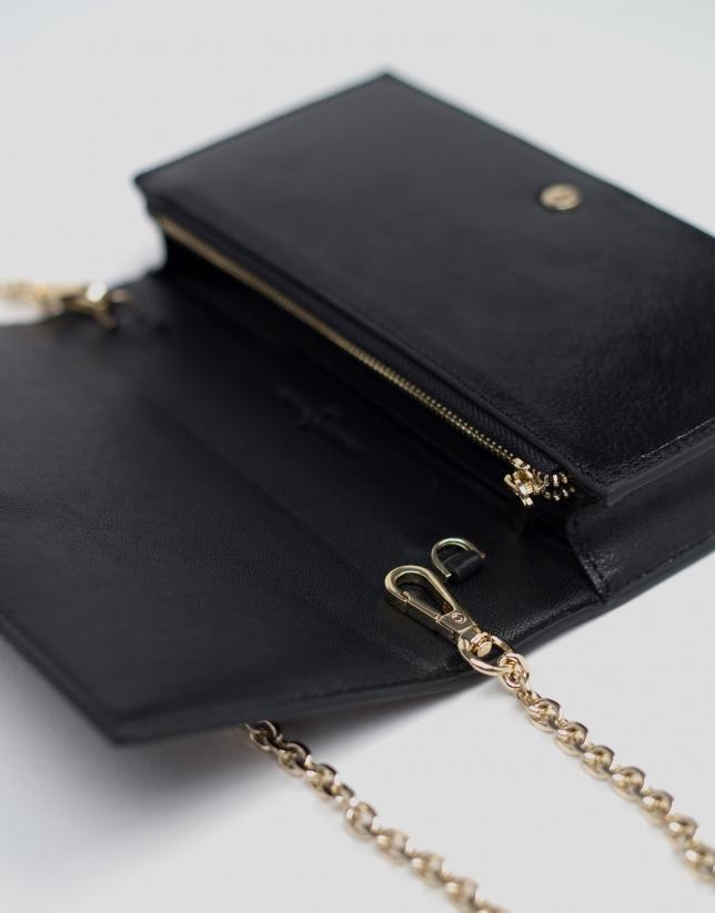 Mini bandolera Glace piel brillante negra