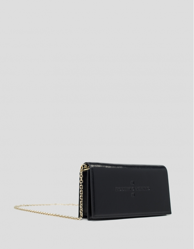 Black shiny leather Glace mini shoulder bag