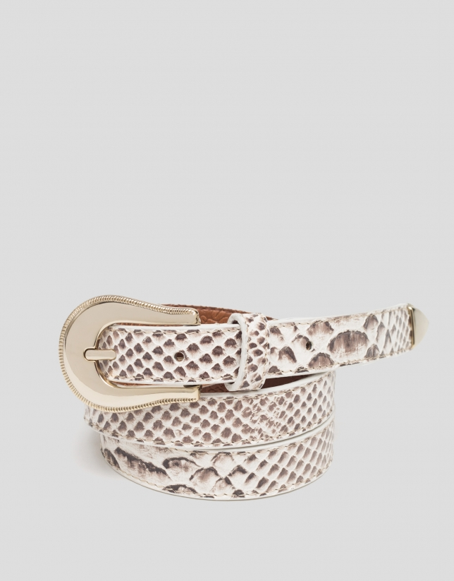 Ceinture étroite en cuir imprimée serpent, couleur naturelle