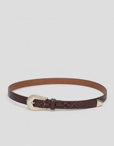 Brown leather snakeskin embossed, narrow belt