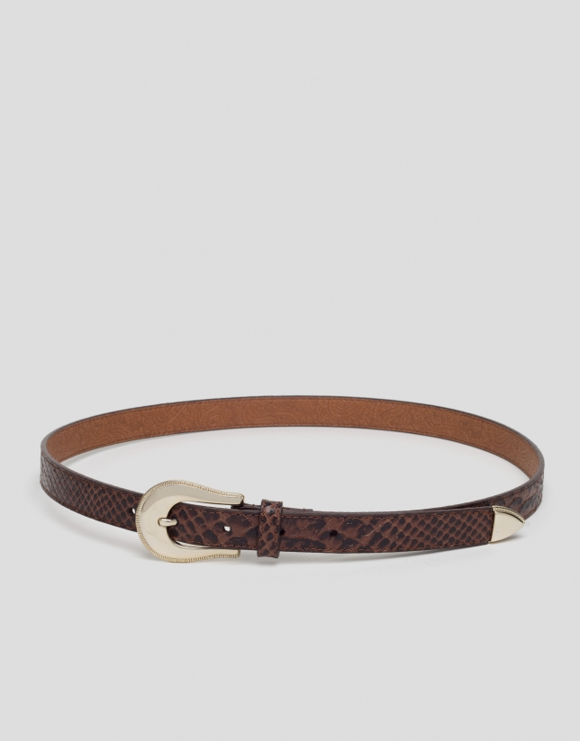 Brown leather snakeskin embossed, narrow belt