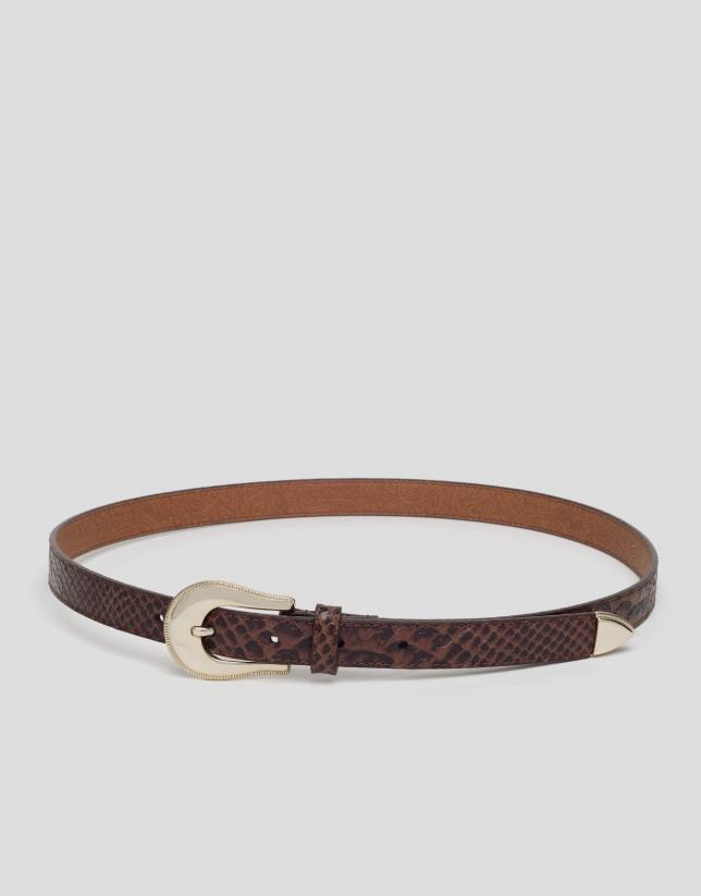 Cinturón estrecho piel grabado serpiente marrón