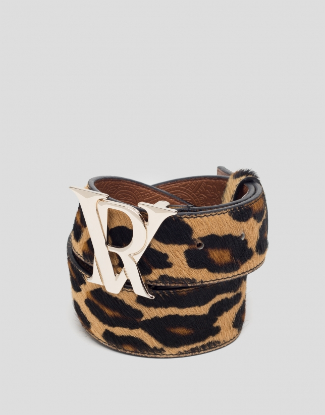 Animal print leather belt with RV buckle