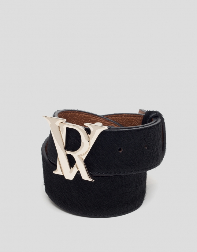 Black leather belt with RV buckle