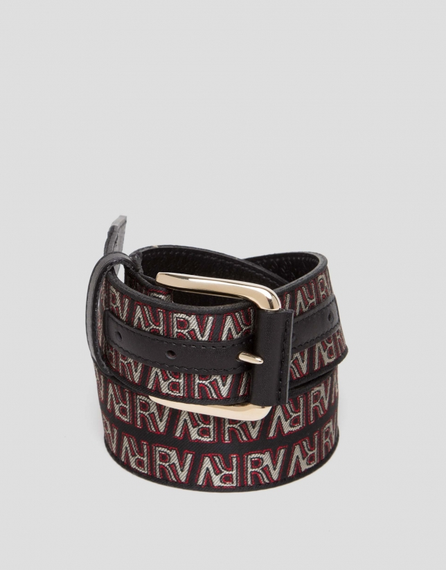 Leather and canvas belt with embossed RV logos