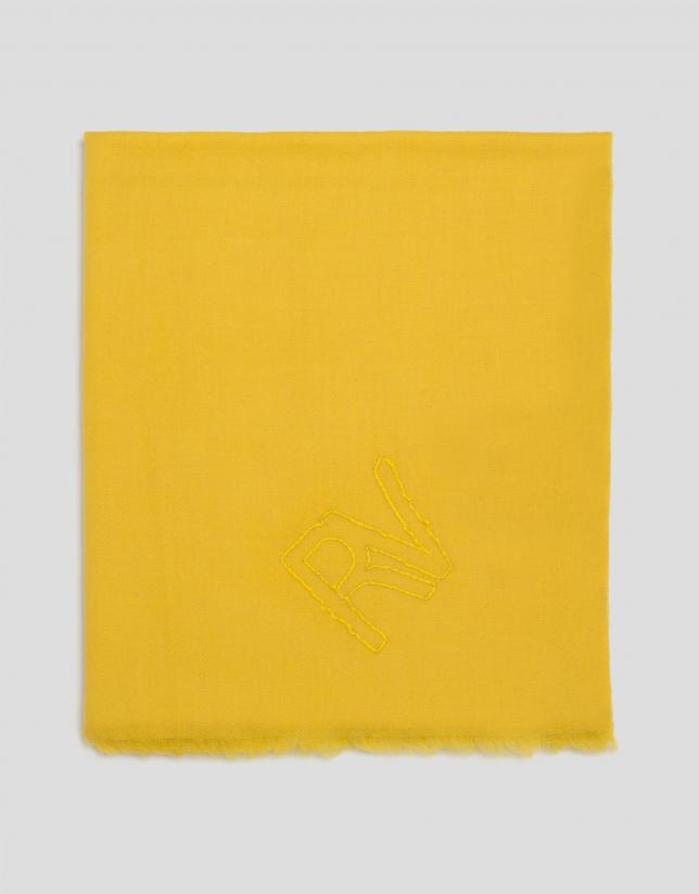 Châle en soie jaune