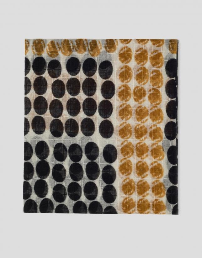 Etole imprimée de cercles noirs et moutarde