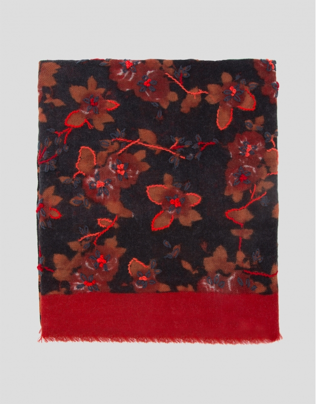 Gray and red scarf with floral print