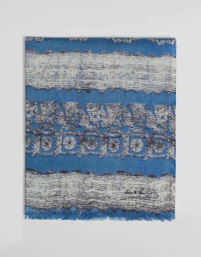 Etole bleue en laine imprimée d'arabesques en gris clair