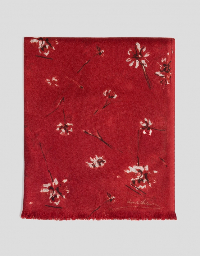Red floral print wool scarf
