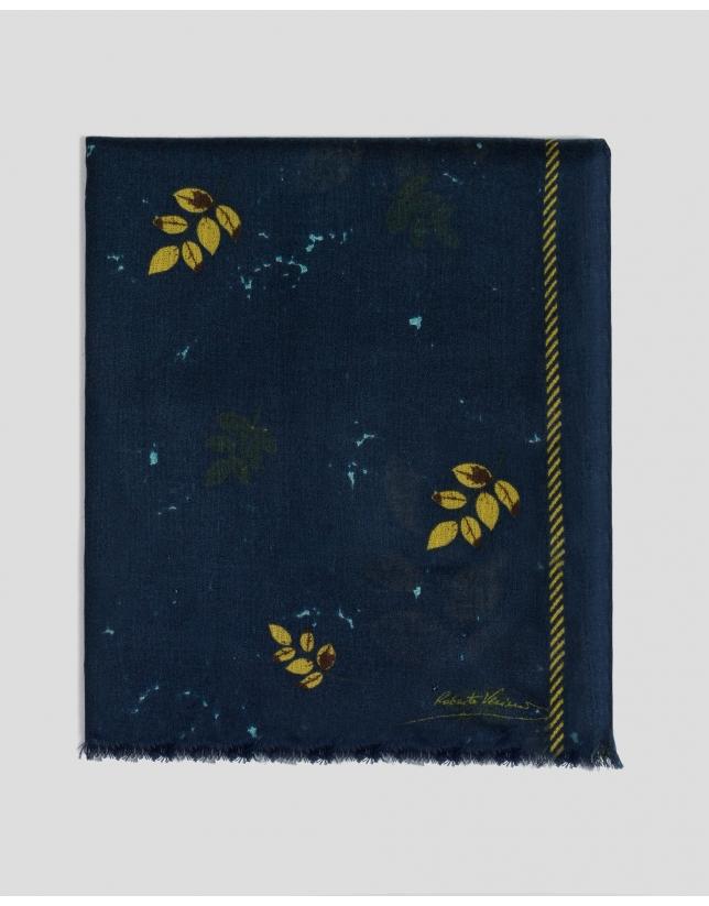 Etole bleu marine en laine imprimée de feuilles jaunes
