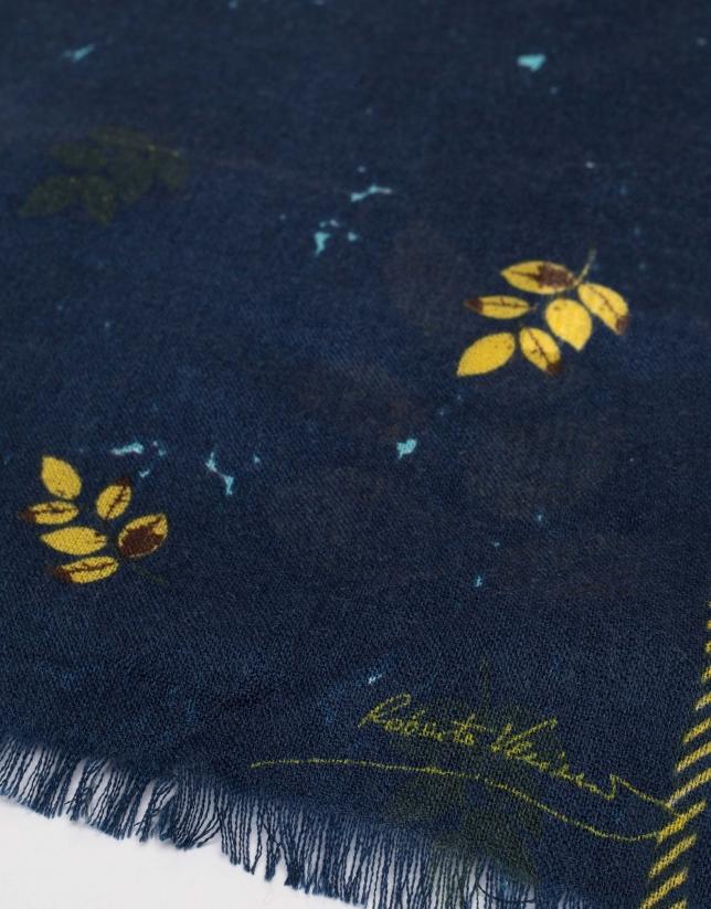 Fular lana azul marino hojas amarillas