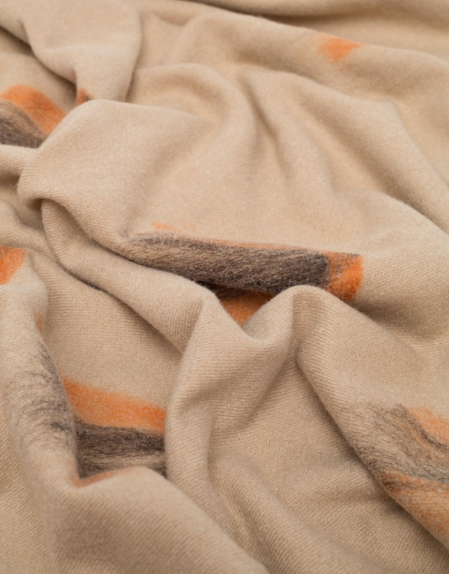 Beige scarf with orange motifs
