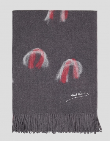 Grey scarf with red motifs