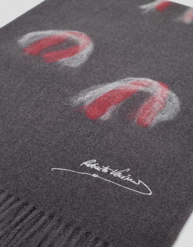 Echarpe gris à motifs rouge