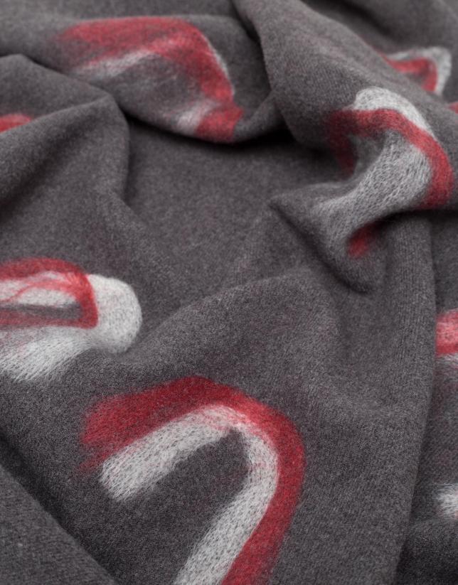 Bufanda gris motivos rojos