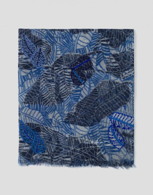 Etole imprimée de feuilles bleues