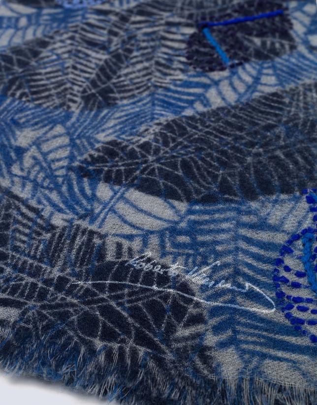 Blue leaf print scarf