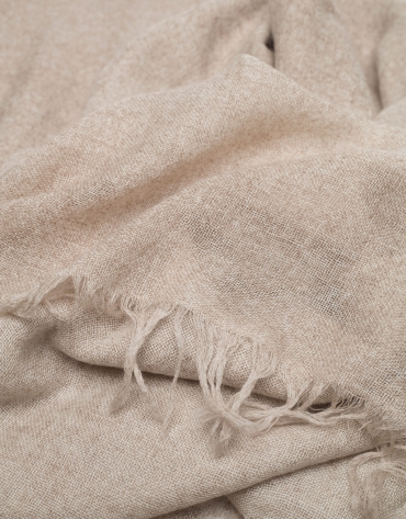 Beige wool and cashmere scarf