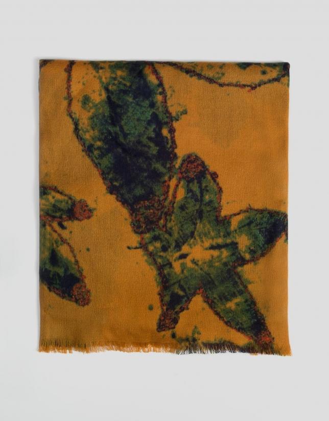 Etole couleur moutarde imprimée de feuilles vertes