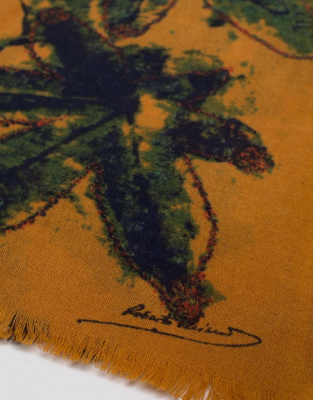 Mustard scarf with green leaf design