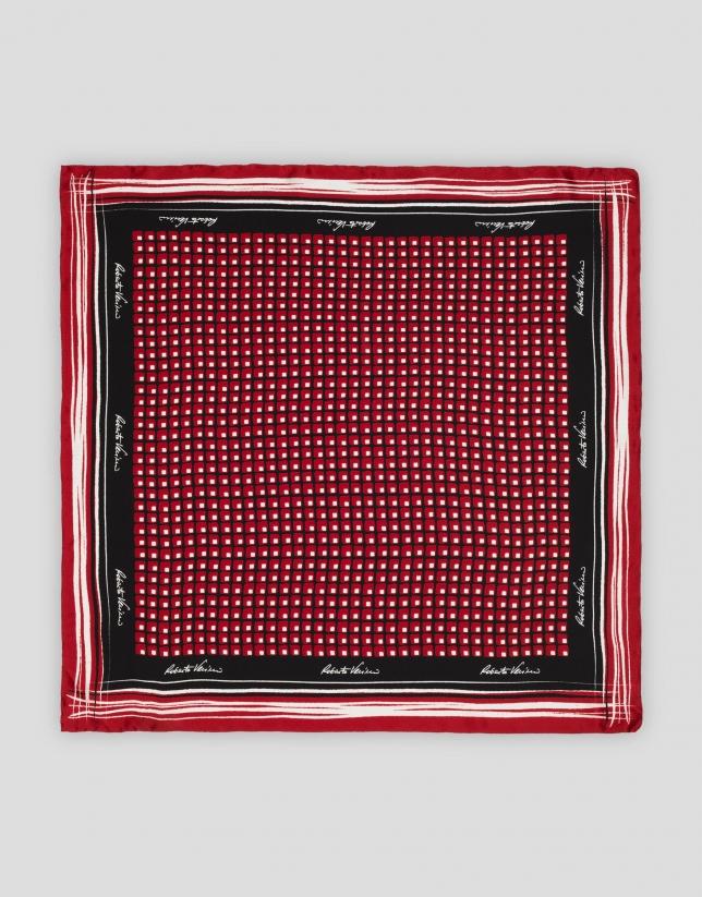 Pañuelo seda estampado geométrico rojos