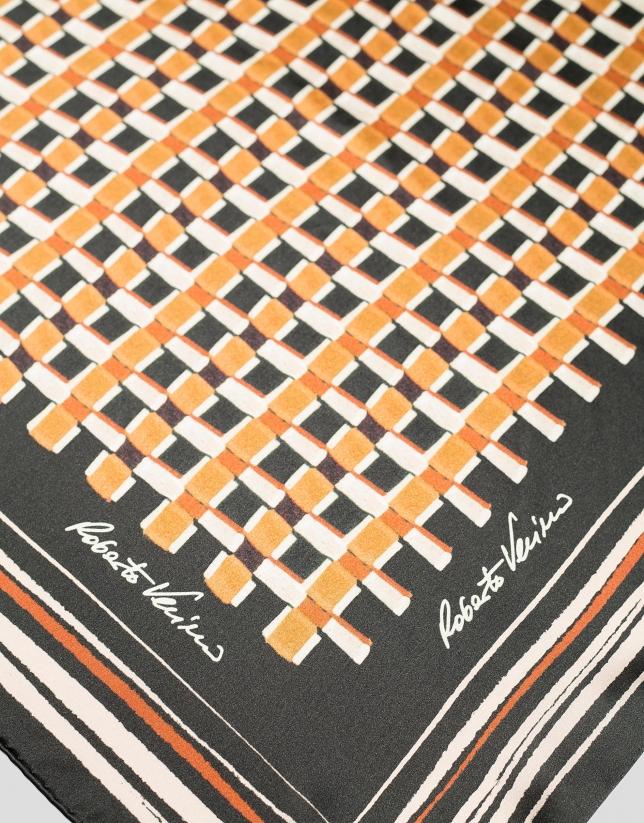 Ochre geometric print silk scarf