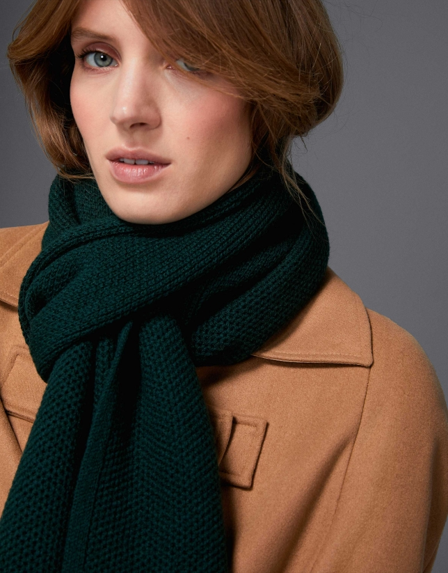 Plain green knotted wool scarf