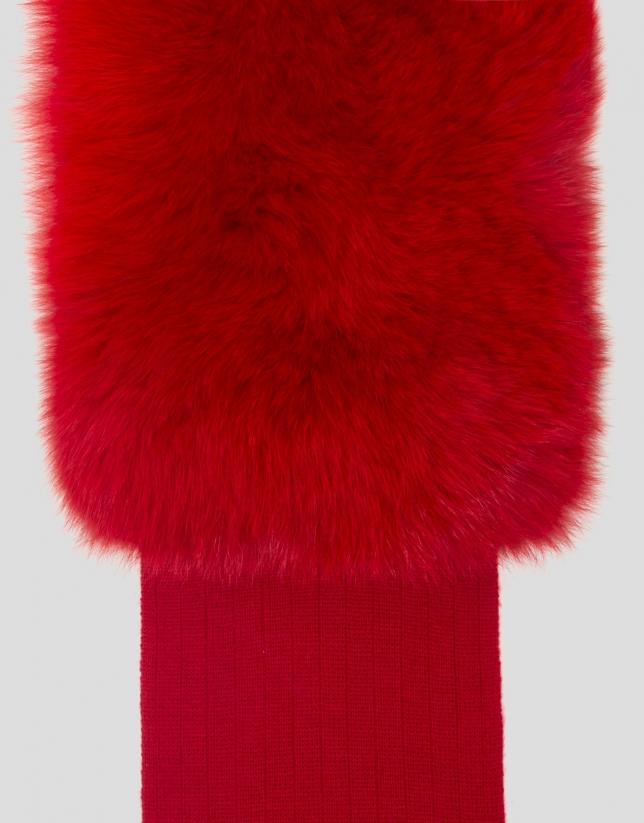 Bufanda lana y pelo roja