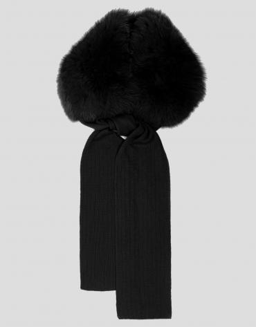 Black wool and fur scarf