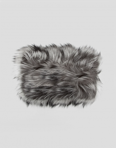 Echarpe tour de cou en poil de renard effet plumes couleur naturelle