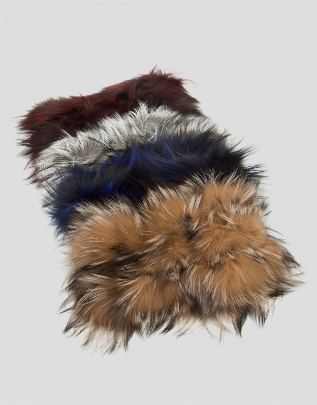 Natural colored fur tubular scarf with feathers