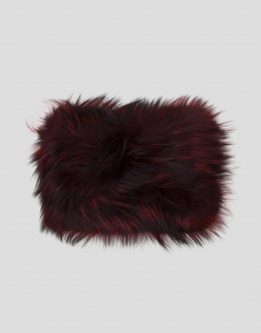 Burgundy fur tubular scarf with feathers