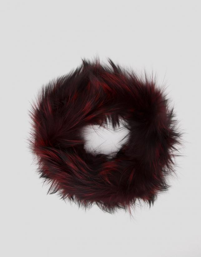 Echarpe tour de cou en poil de renard effet plumes bordeaux