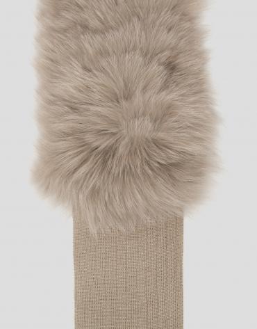 Beige wool and fur scarf