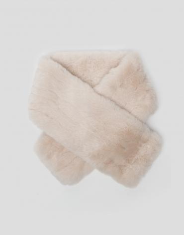 Beige fur-effect collar