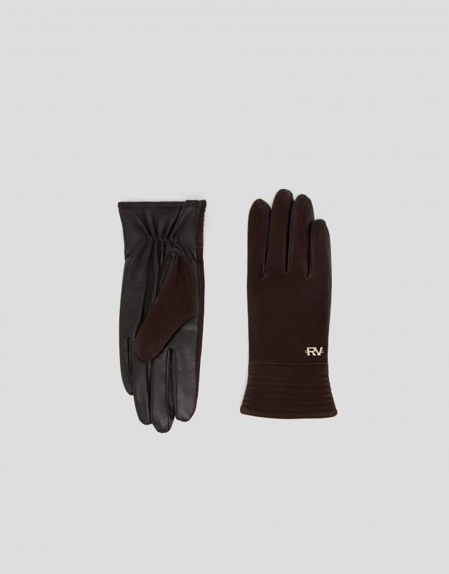 Brown suede and leather gloves