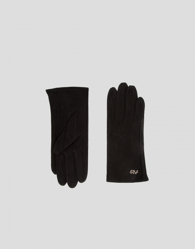 Black suede gloves with braided edge