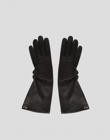 Long leather gloves with side gathering