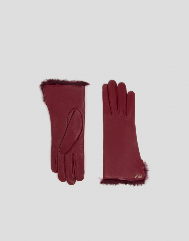 Burgundy leather and fur gloves