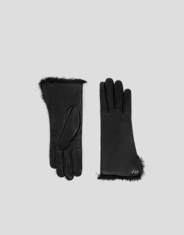 Black leather and fur gloves
