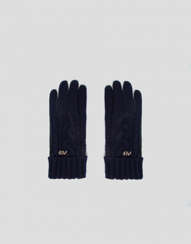 Cable-stitched knit and suede gloves