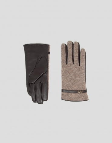 Beige leather and knit gloves with strap