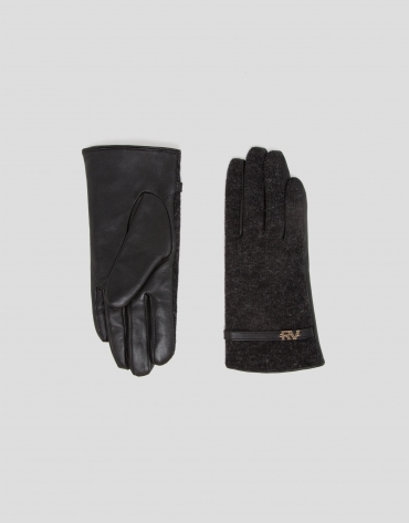 Gray leather and knit gloves with strap
