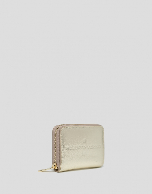 Monedero piel metalizada oro